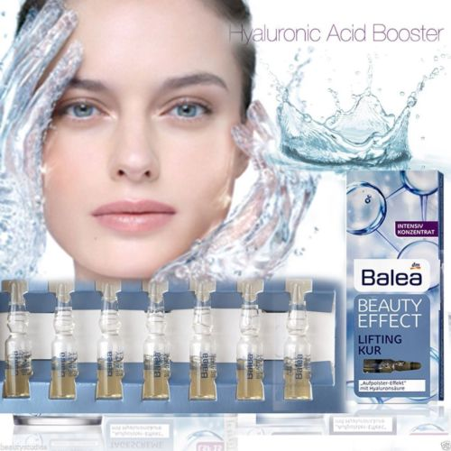 Balea Beauty Effect Lifting Treatment Serum Hyaluronic Acid Ampoules 7x1ml germany balea beauty effect wrinkle filler hyaluronic acid serum moisturizing essence lifting effect vegan paraben free