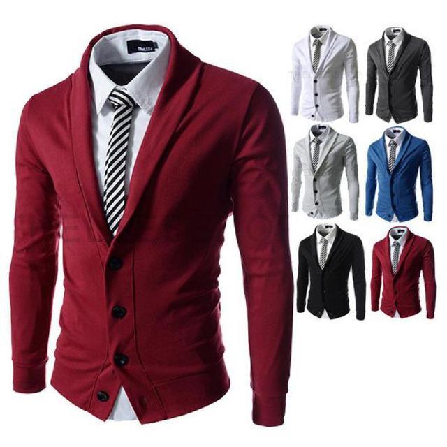 2016 Novos Homens de Inverno Moda Cor Cardigan Malha Jaqueta de Lapela Dos Homens Camisola Fina Moda Legal Frete Grátis