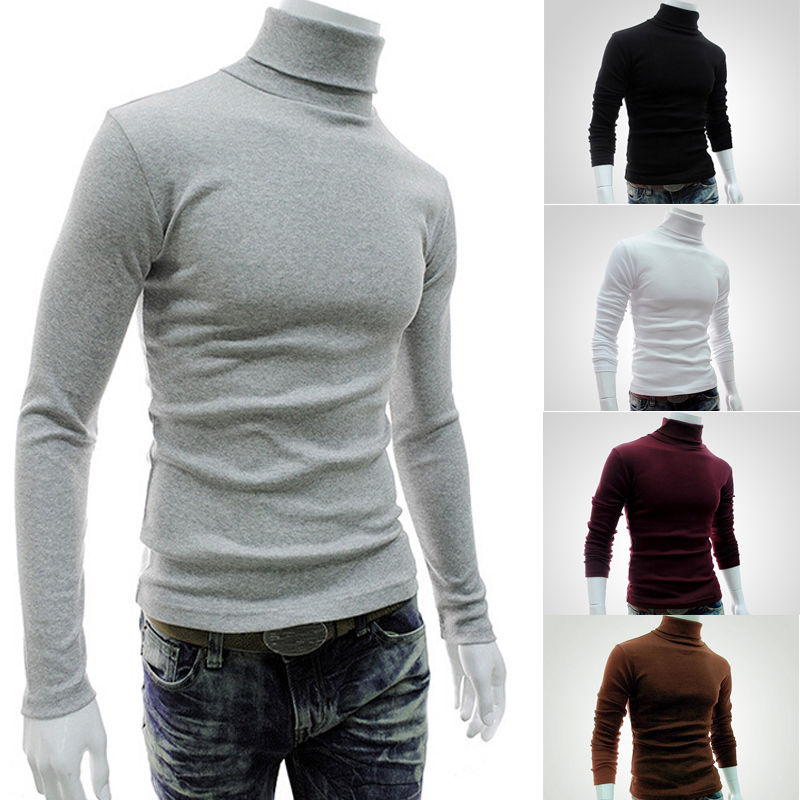 2017 Autumn Winter Men Slim Warm Cotton High Neck Pullover Jumper Sweater Top Turtleneck Knit Sweater Jumper Tops Shirt M-XXL