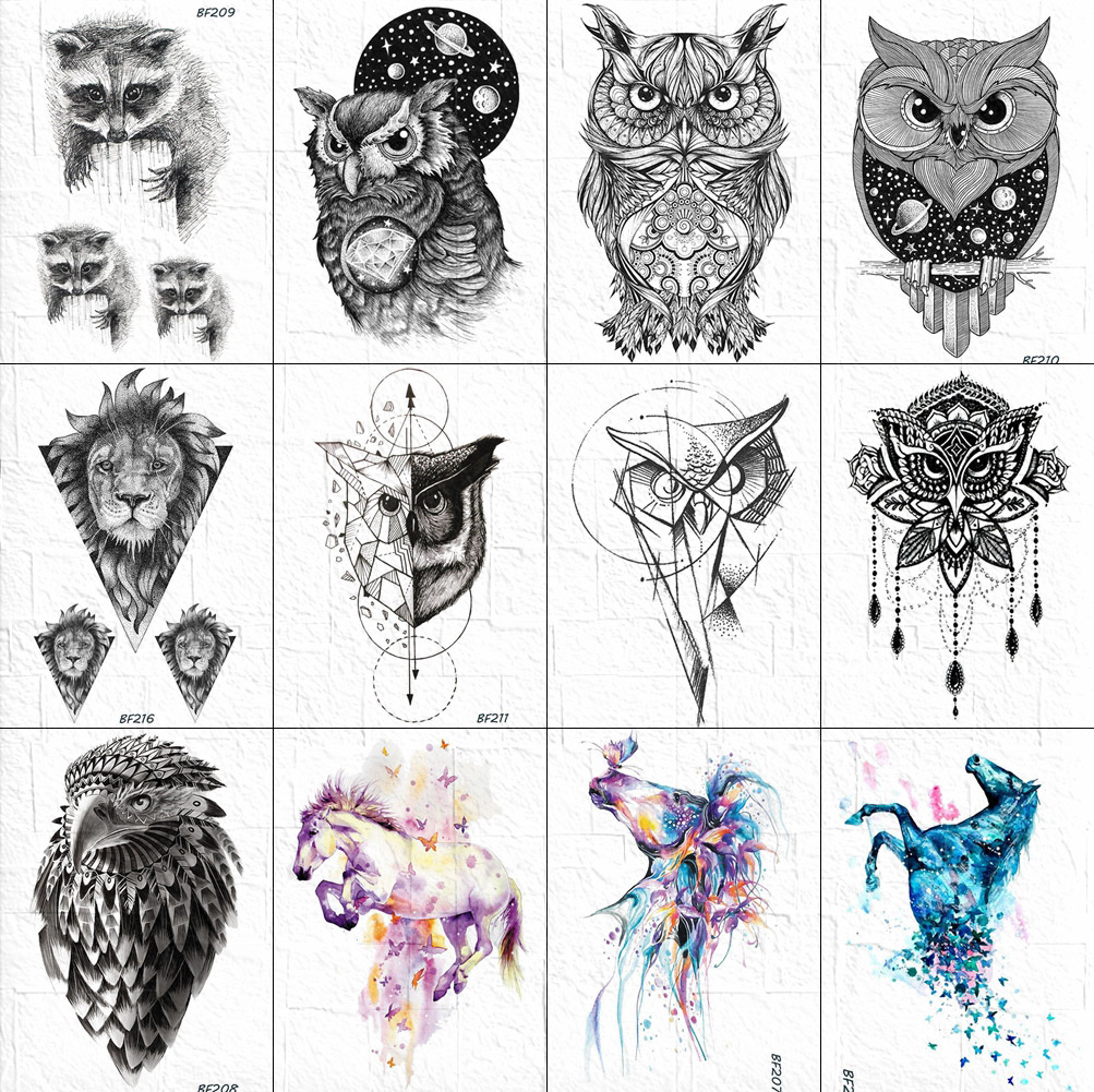 VANKIRS 3D Raccoon Tattoos Temporary Women Arm Stickers Sexy Owl Men Tattoos Waterproof Moon Geometric Planet Tatoos Supplies