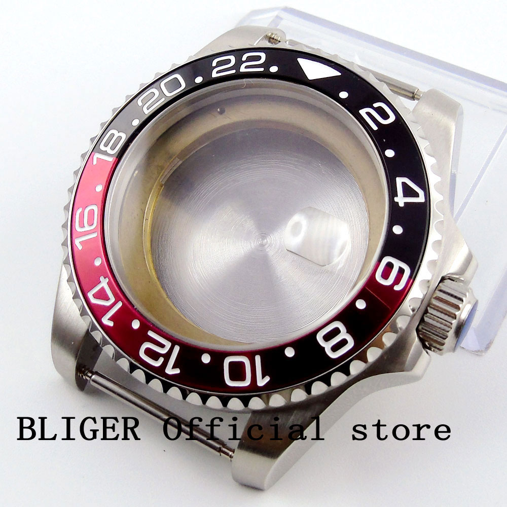 лучшая цена 43MM Stainless Steel Case Black Red Rotating Bezel Sapphire Crystal Watch Case Fit For ETA 2824 2836 Automatic Movement C49