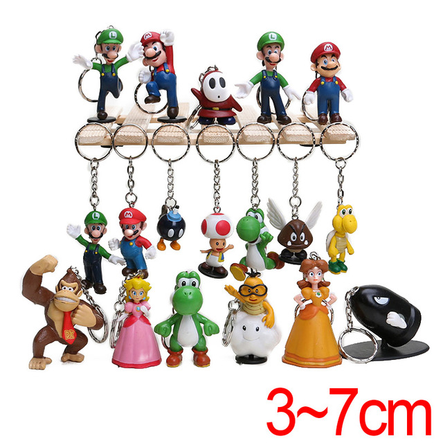 18 PCS Set Super Mario Bros Keychain PVC Figure Toys Wario Luigi Donkey  Kong Peach Bowser mario bros birthday party supplies 8db391d99