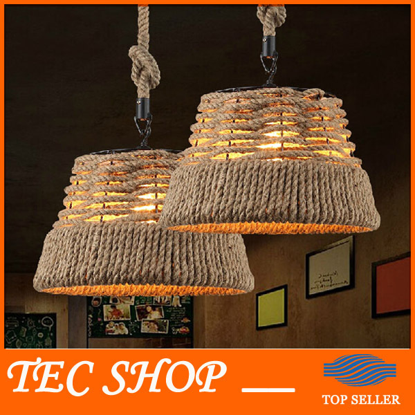 Best Price American Village Vintage Chandelier Handmade Knitted Pure Hemp Rope Light Retro Bar Creative Balcony Aisle Light