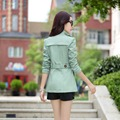 Spring and autumn the new wild Slim double-breasted large code female short trench coat