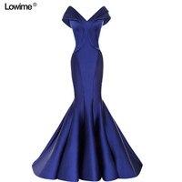 Long Evening Dress 2018 Sexy Mermaid Off The Shoulder V neck Sleeveless Royal Blue Women Arabic Formal Evening Gowns