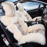 Low profile luxury long sheep fur car seat cover cushion full wool cover car seat cover comfortable 5 seats covers for 1 set