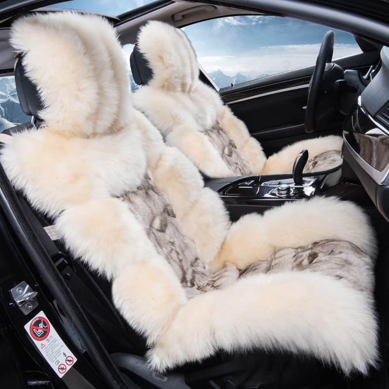 Profil bas de luxe longue fourrure de mouton siège d'auto couverture de coussin plein laine couverture de voiture housse de siège confortable 5 sièges couvre pour 1 ensemble