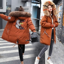 Brieuces 2019 Women Embroidered fur collar jacket Winter Jacket Women Coat Women's Jacket Long Cotton Coat Plus Size Outerwear
