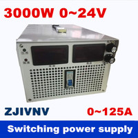3000W 0~24v 0~125A adjustable Output Switching power supply AC to DC For industry led light Laboratory test power supply