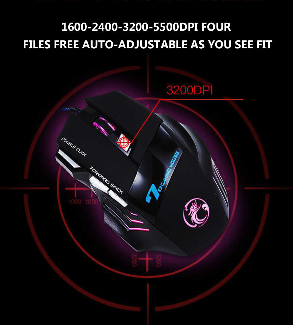 Профессиональная игровая мышь Регулируемая 3200 dpi 7 кнопок светодиодный оптическая USB Проводная мышь геймерская мышь компьютерная мышь для Pro Gamer