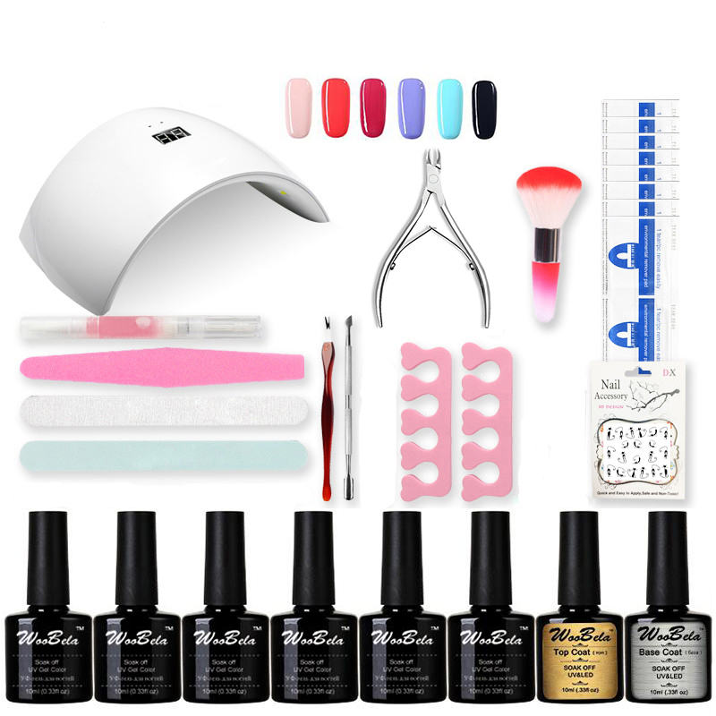 Professional UV Gel Nail Polish Set Nail Set Tool Nails LED UV Lamp Nail Art Manicure Set Gel Lacquer Soak Off Gel Polish new 24w professional uv led nail gel 9c lamp of resurrection nail polish tools and portable five soaked nail gel art set
