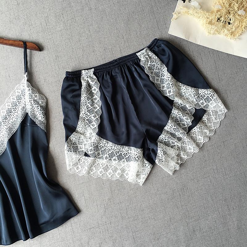 Women's Sleepwear Sexy Satin Pajama Set White Lace V-Neck Pyjamas Sleeveless Cute Cami Top and Shorts - sleepwear