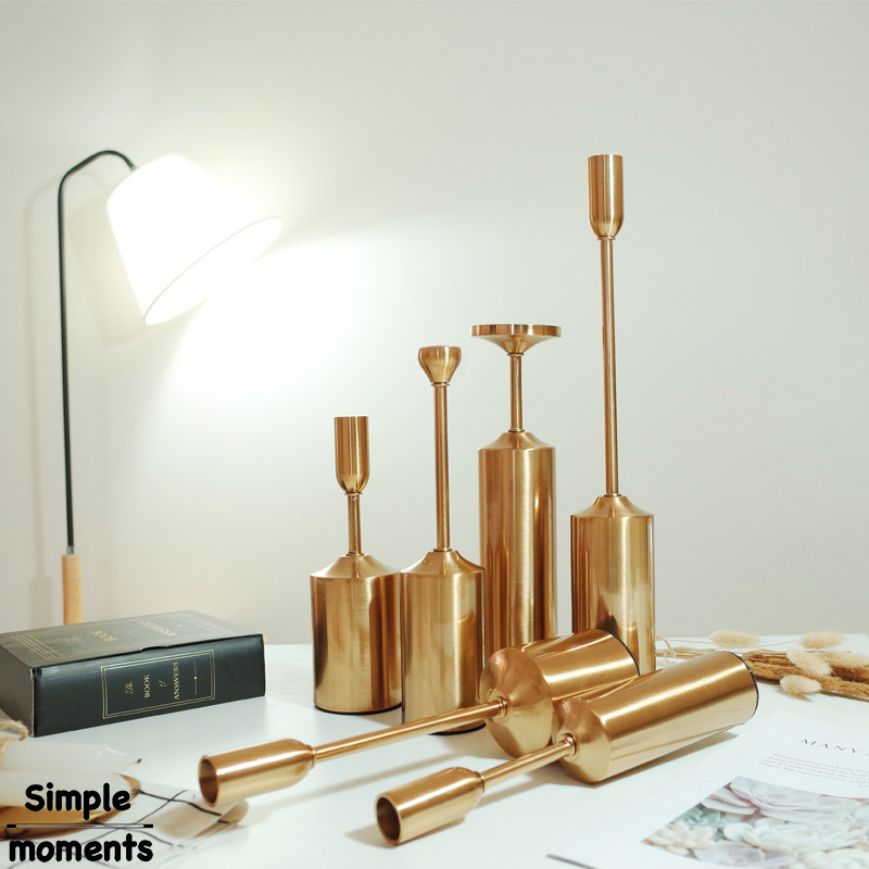 Simple moments 6 pieces set High Quality Gold Metal Pillar Wedding Decoration Candlestick Home Decoration Candlestick