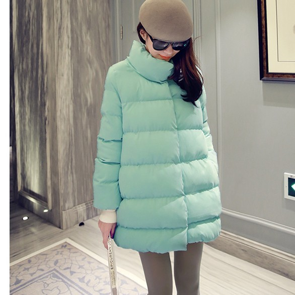 XXL-2015-Women-Parka-Wide-Waist-Stand-Collar-Long-Zipper-Padded-Cotton-Autumn-Winter-Jacket-Coat
