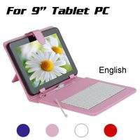 For 9 Inch Android Tablet PC English Keyboard Micro USB Keyboard Case PU Leather Stand Case