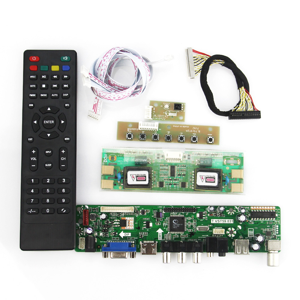 T.VST59.03(NOT V56) LCD/LED Controller Driver Board (TV+HDMI+VGA+CVBS+USB) For MT170EN01 V.7 LVDS Reuse Laptop 1280x1024 t v56 03 vga hdmi av audio usb tv lcd controller board for b154pw01 b154pw02 1440x900 ccfl lvds lcd ad board raspberry pi