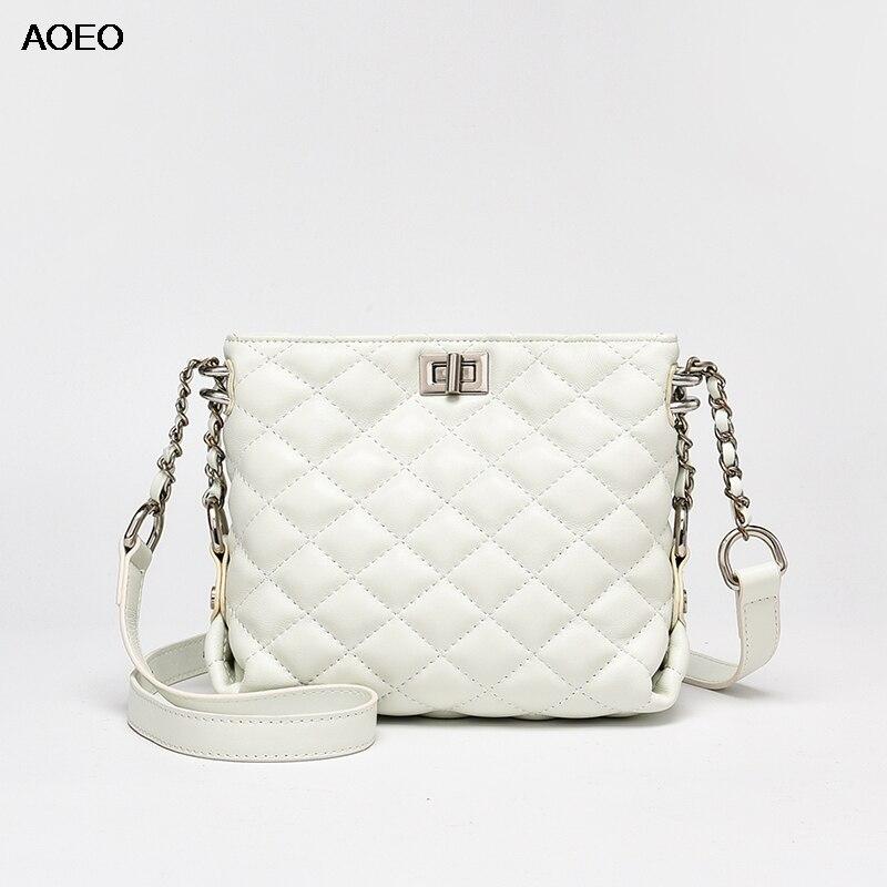 AOEO Sheepskin Genuine Leather Womens Shoulder Bag Small High Quality Plaid Cross Body Fashion Ladies Messenger