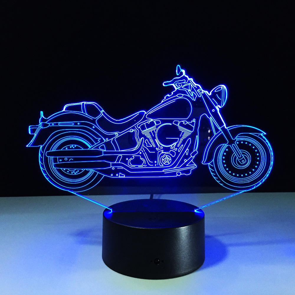 2017 New Motor Shape Table lamp Touch Nightlight 7 Colors Changing Motorcycles Sleeping Lamparas Light Acrylic USB 3D LED Lamp 3d led light table lamp touch switch and remote control 7 colors changing walking cat sleeping light acrylic gifts festival kids