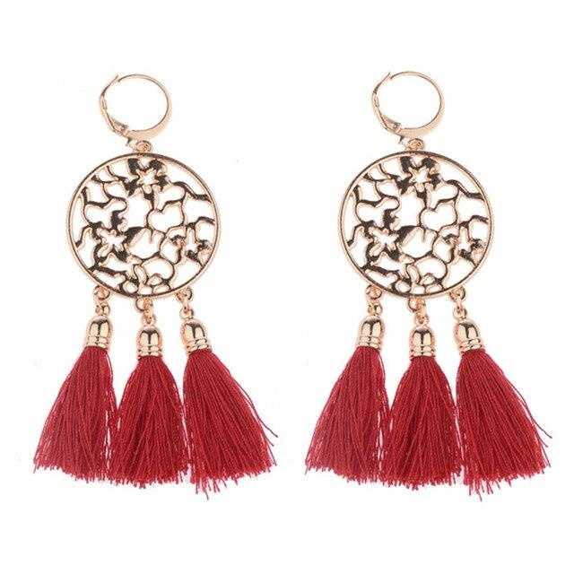 1Pair Fashion Drop Earrings Vintage Long Ethnic Bohemian Earrings for Women Red J227EPiZJ