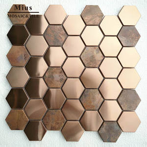 Hot sale metal copper mosaic mix stainless steel metal wall mosaic  tile