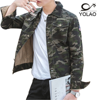 YOLAO 2018 New Spring Winter Denim Jacket Men Military Outerwear Fashion Casual Coats Slim Fit Cotton