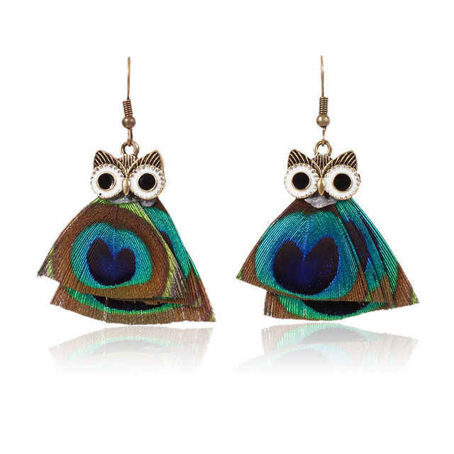 Ethnic Natural Blue Pea Feather Earrings Women Thailand Drop Owl Earring Boho For Gift Christmas