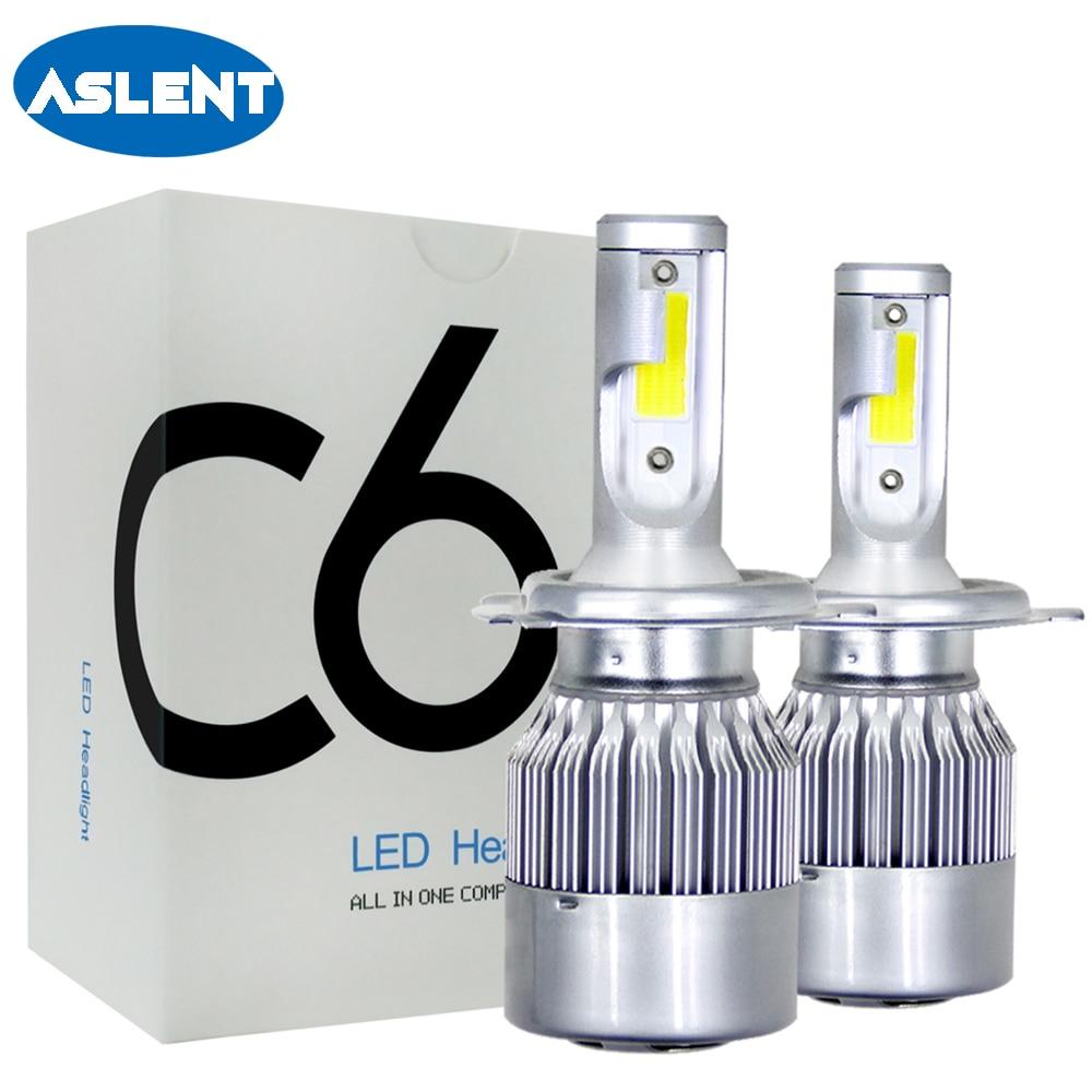 ASLENT H4 2pcs LED Car Light H7 HB2 H1 H11 H3 HB3 HB4 9005 9006 9007 9004 Auto Headlight 72W 8000LM Fog Headlamp Bulb 12V