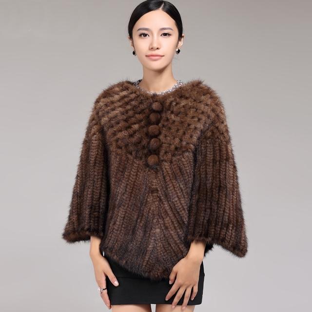 ZDFURS * fashion calidad mink fur poncho chal chal de piel de piel de visón de punto señoras del estilo corto