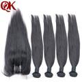 6A peruano virgem cabelo Silk hetero 4 bundles com lace encerramento não transformados cabelo humano Weave peruano virgem cabelo liso