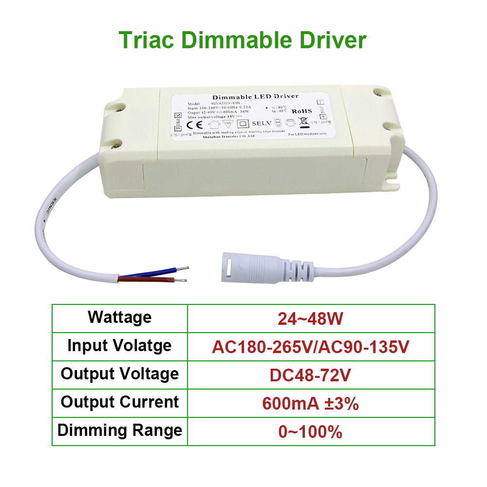 24~48W Triac Dimmable Driver Safe Plastic Shell AC90-265V DC48-72V Lighting Transformer 600mA Power Supply Adapter For Led Lamps