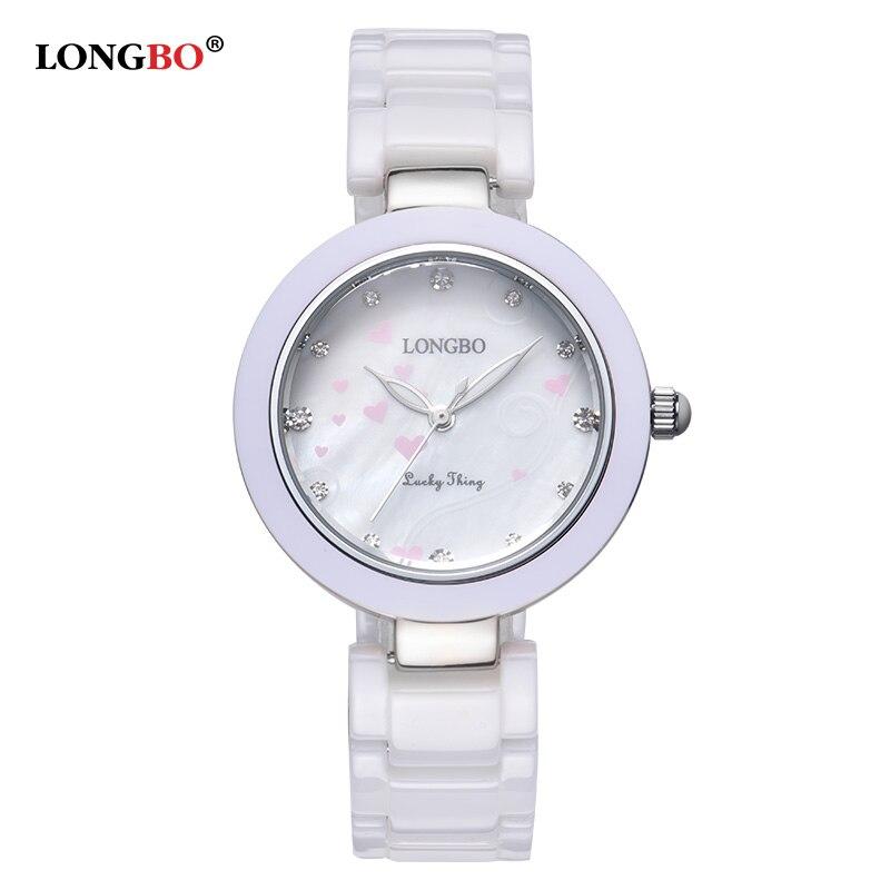 LONGBO Brand Women White Ceramic Watches New Fashion 2017 Ladies Quartz Watch Waterproof Luxury Girl Wristwatch