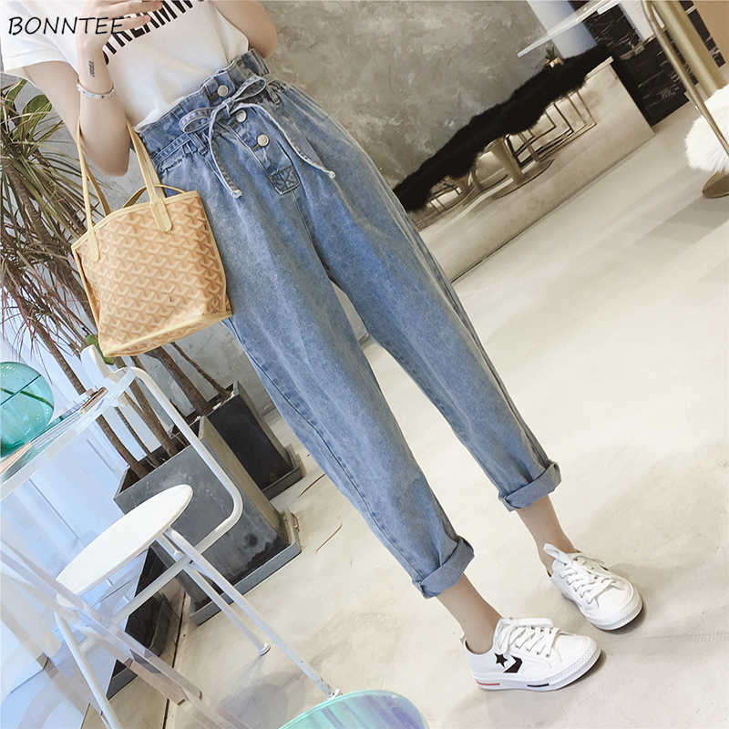 Jeans Women High Waist Sashes Single Breasted All-match Pockets Elegant Korean Style Ankle-Length Trousers Female Daily Womens