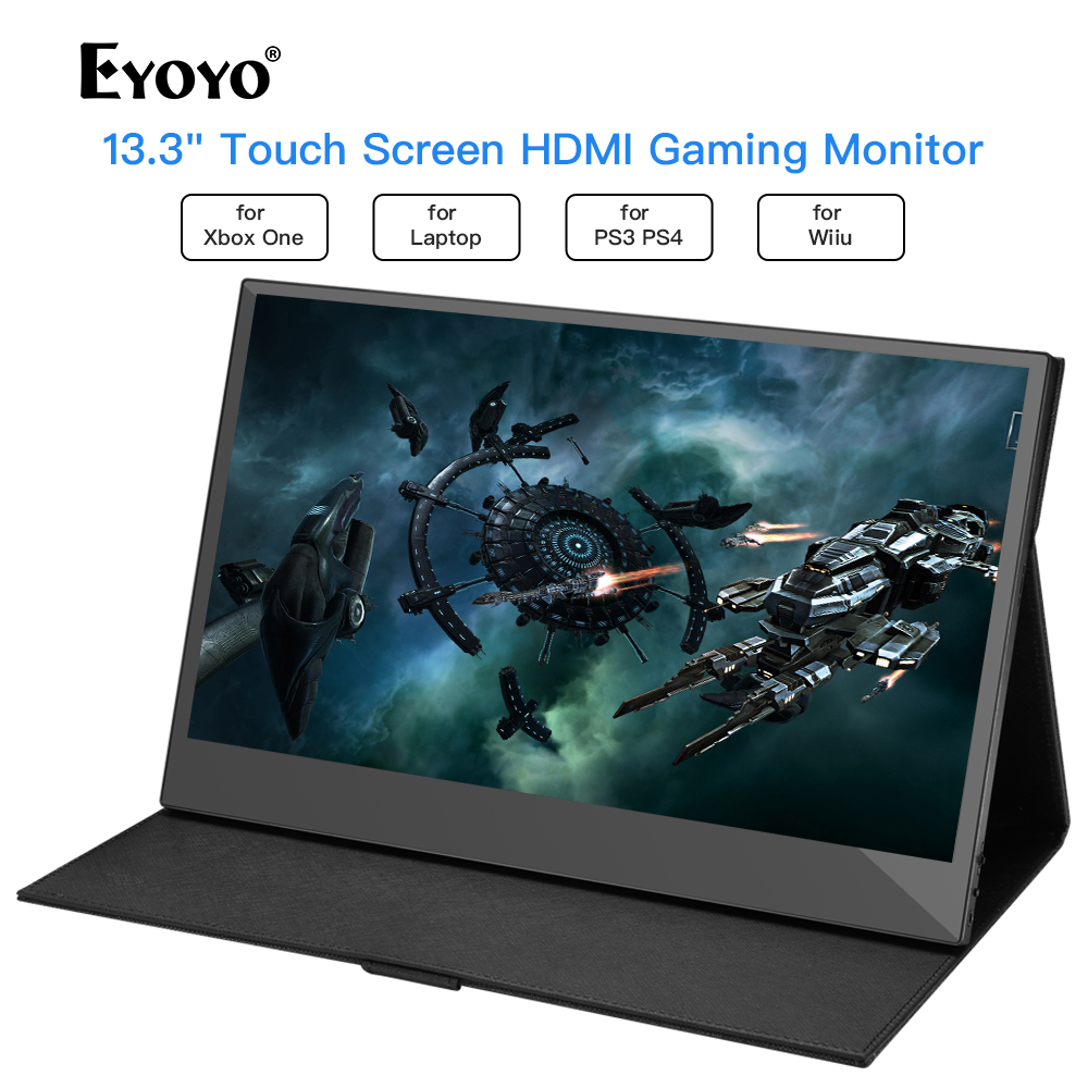 """Eyoyo 13.3"""" EM13K LCD Portable 1920x1080 IPS Gaming Monitor compatible for Game Consoles computer USB PC Screen hdmi display"""