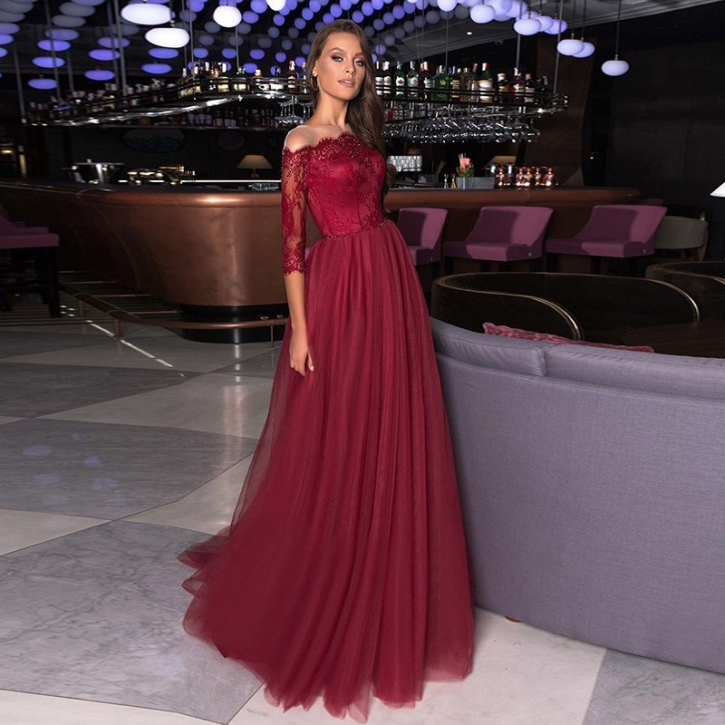 Robe De Soiree Vestidos Burgundy Long   Prom     Dresses   Elegant A Line Off Shoulder Lace Formal Party Gowns