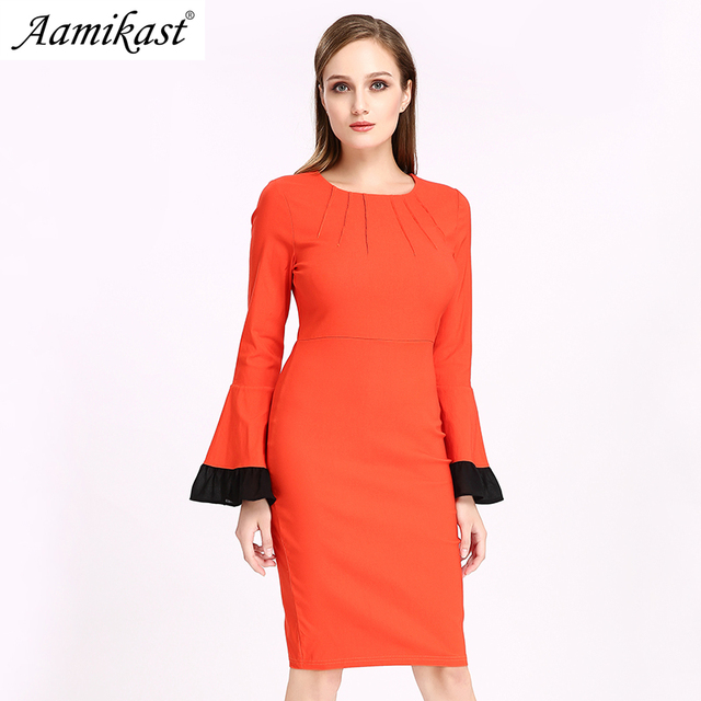 181e22c8da5 Aamikast Women dress Autumn Winter Butterfly Sleeve Casual Work Business  Office Party Fitted Bodycon Pencil Sheath Slim Dress