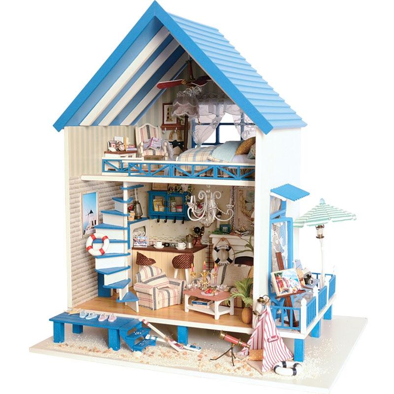 Симпатичный номер DIY Кукольный дом Миниатюрный Кукольный домик с мебелью 3D деревянные игрушки ручной работы подарок романтический Эгейско...