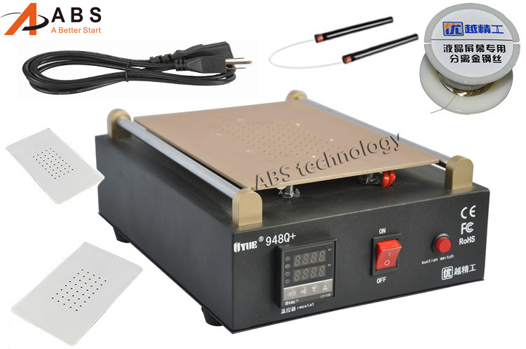 New UYUE 948Q+ Built-in Vacuum Pump Mobile phone LCD Screen Separator Machine Max 11 inches Lens Glass Repair +100m Cutting Wire 100m 0 1mm lcd separator gold molybdenum wire molybdenum cellphone wire for mobile phone glass repair tool