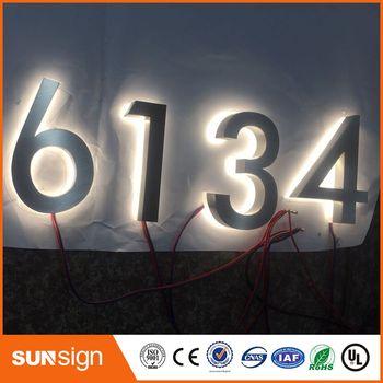 Segni Di Numero Civico Personalizzati | Personalizzata In Acciaio Inox Illuminato Numero Di Casa