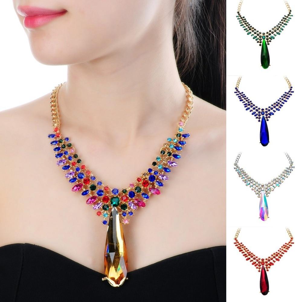 Fashion Choker Statement Jewelry Chain Crystal Resin Beads Pendant Bib Necklace