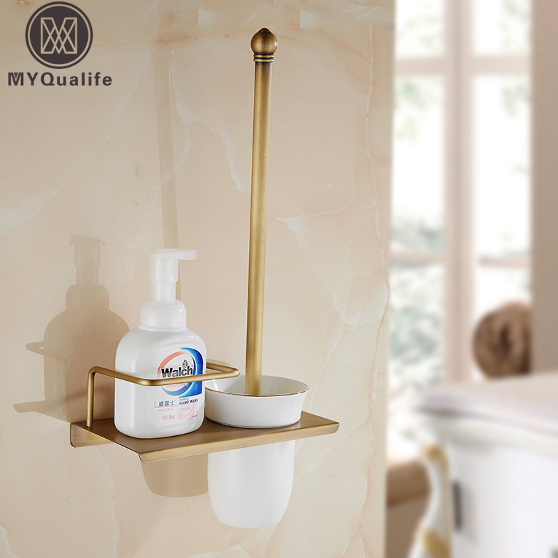 European Style Brass Toilet Brush Holder Wall Mounted Antique Toilet Brush Bathroom Products Accessories Durable solid brass antique brass bathroom toilet paper holder with brush bathroom accessories wall mounted