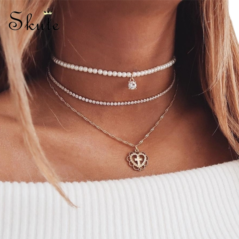 Skute Imitation Pearl Choker Multi Layer Heart Shaped Cross Pendant Necklaces for Women Crystal Chain Necklace Fashion Jewelry(China)