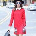 OUYALIN Высокое Качество L-XXXL 4XL 5XL Плюс размер Зима Dress 2016 Новый Дамы С Длинным рукавом Вышивка Большой Карман Красный Повседневные Платья