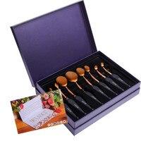 DE'LANCI 8 Piece Oval Toothbrush Makeup Brushes Tools Foundation Powder Oval Makeup Brush Set Beauty Kits Pincel Gift for Women