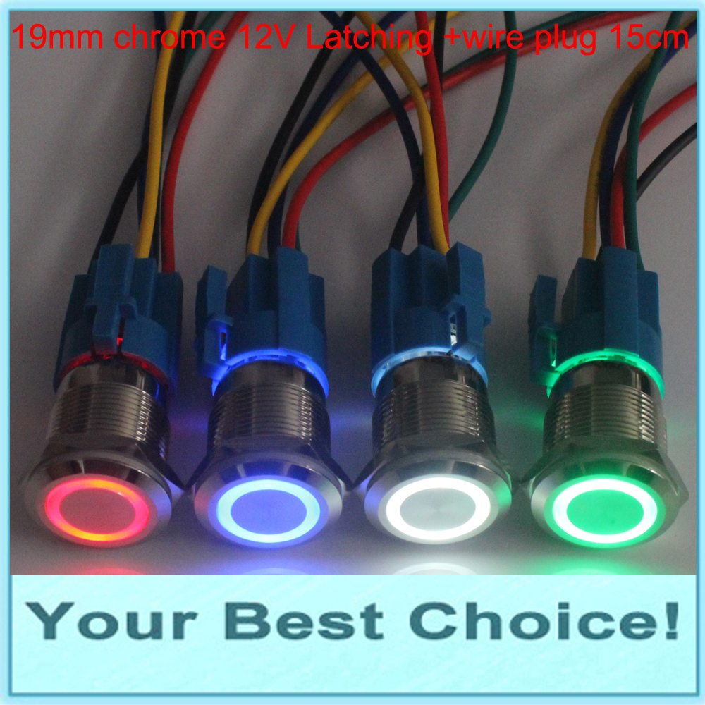 hight resolution of 19mm waterproof self locking latching 12v ring led illuminated anti vandal metal push button switch with wire plug connector in switches from lights