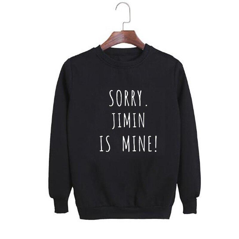 Vsenfo Kpop Bts Sweatshirt Women Men Letters Printed Sorry J-Hope Is Mine Sweatshirts Casual Crewneck Harajuku Streetwear Jumper