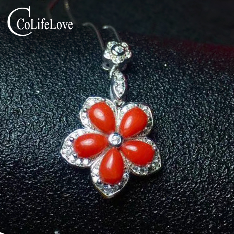 Vintage Red Coral Pendant For Party 5 Pieces 4 Mm * 6 Mm Natural Preciouse Coral Pendant Solid 925 Sterling Silver Coral Jewelry Crazy Price