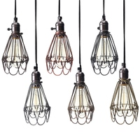 Vintage Retro Industrial Lamp Covers Pendant Trouble Light Bulb Guard Wire Cage Ceiling Fitting Hanging Bars
