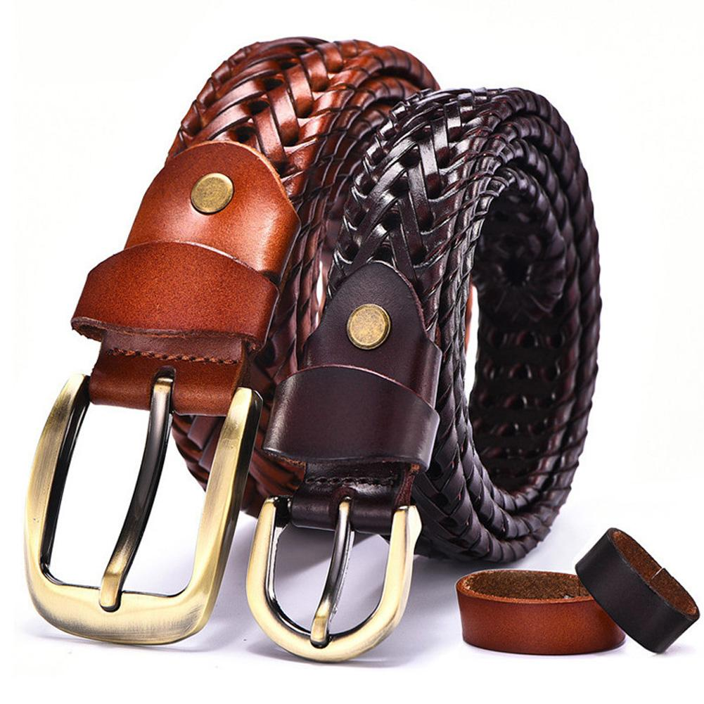 Men's Leather Belt Faux Leather Braided Woven Korean Style Casual All-Matching Simple Fashionable Tide Belts 5 Colors