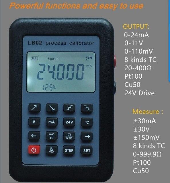 LB02 Résistance Voltmètre Courant Générateur de Signal Source Calibrateur de Process 4-20mA/0-10 v/mV LCD Affichage Mise À Jour de LB01