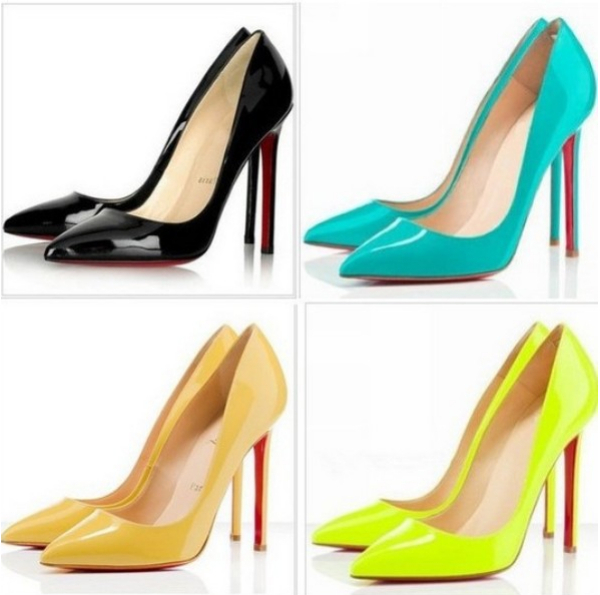 8a7673cf15e 2014 Plus Size 35-40 Neon Yellow Thin Heel Pointed Loyal Blue Women's Pumps  High Heels Red Bottom Vintage Sexy Women shoes
